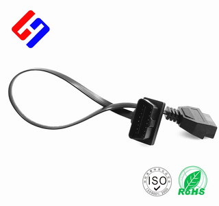 OBDII 16P J1962 Male to OBDII 16P J1962 Female White Colo GPS tracking flat cable