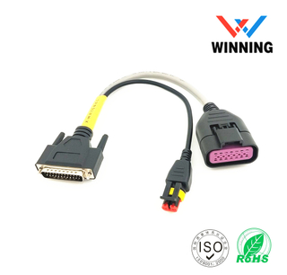 Tian na 1_5 & 6_0 DB 25 Pin Male header to Delphi 14 Pin Female header and Amp 2 Pin Female header CABLE